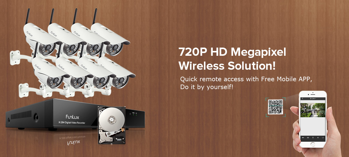 8 wireless security cameras system
