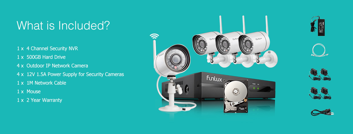 4 channel security camera system with 500GB  hdd