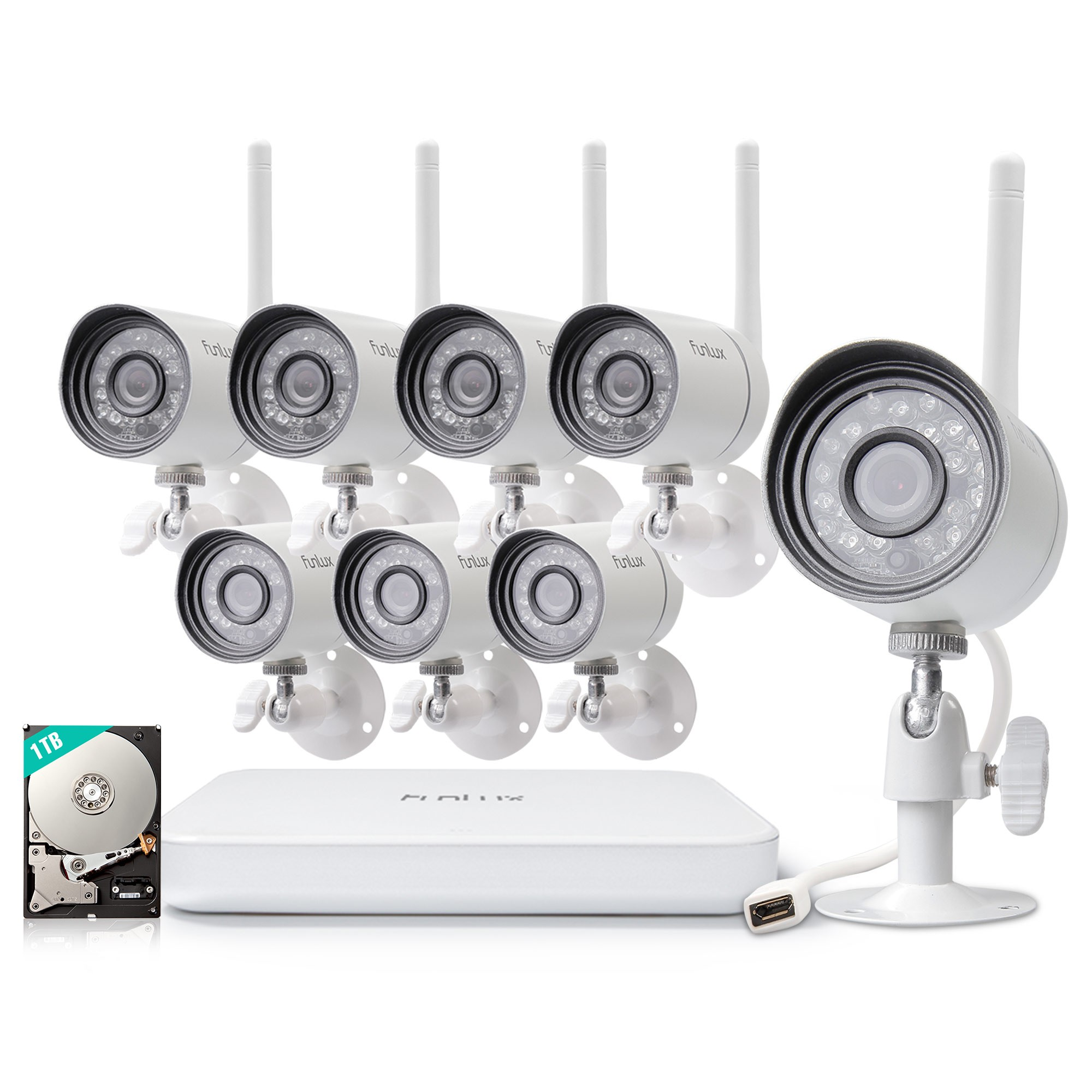 Funlux official website security camera system ip camera funlux 8 channel 720p wireless nvr system with 8 hd wifi ip cameras and 1tb hd solutioingenieria Choice Image