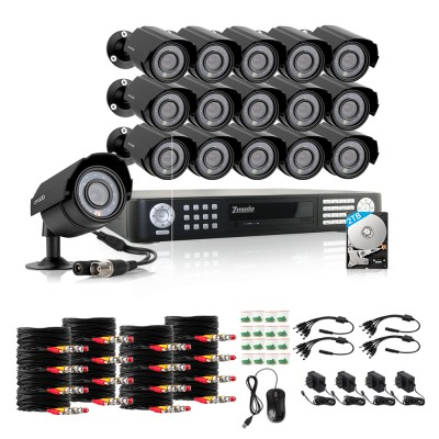 Zmodo 16CH DVR Security System & 16 x 600TVL Outdoor Cameras & 2TB HDD(Refurbished)