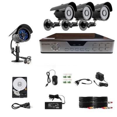 Zmodo 4 CH Home Security Video System & 4 600TVL Cameras & 500GB HDD-Refurbished