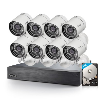 Refurbished Funlux 16 Channel 720p NVR with 8 Outdoor Bullet IP Cameras & 1TB HDD