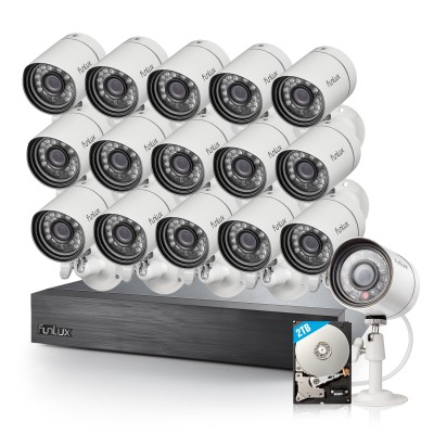 Refurbished Funlux 16 Channel 720p NVR with zmodo 16 Outdoor Bullet IP Cameras & 2TB HDD