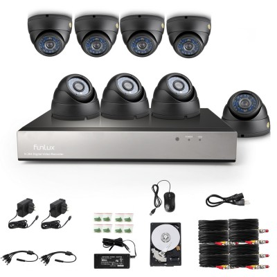 Funlux 700TVL 8 Channel 8 Dome Cameras DVR System with 1TB HDD