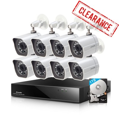 Refurbished Funlux 8CH DVR 8 Bullet Security Cameras System with 1TB HDD