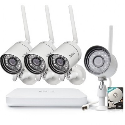 Funlux One-click 4 Ch 720P Wireless Security System  with 500GB HDD