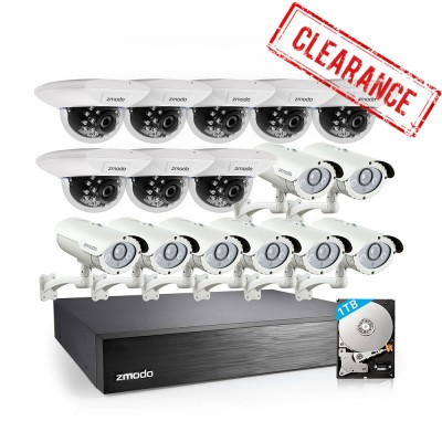 Refurbished Zmodo 16CH DVR & 16 Bullet Security Cameras System with 1TB HDD